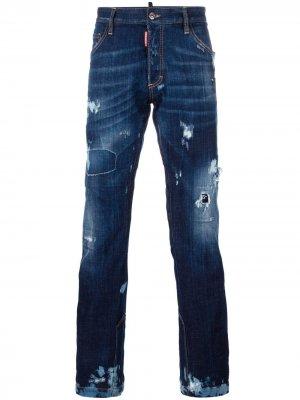 Расклешенные джинсы Ski с рваными деталями Dsquared2. Цвет: синий