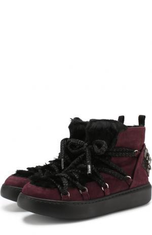 Комбинированные ботинки на шнуровке Baldan. Цвет: бордовый