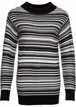 Пуловер в полоску bonprix. Цвет: черный