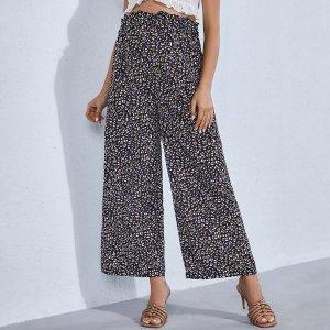 Для беременных Брюки с широкими штанинами леопардовым принтом высокой талией SHEIN. Цвет: многоцветный