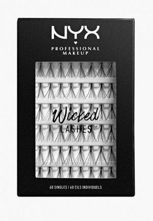 Пучки ресниц Nyx Professional Makeup Wicked Lashes Singles, 60 пучков. Цвет: черный