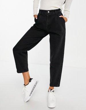 Черные выбеленные брюки-галифе из органического денима со складками спереди -Черный цвет ASOS DESIGN