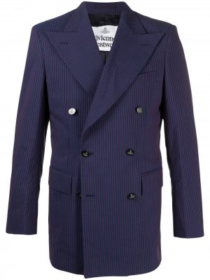 Двубортный пиджак в полоску Vivienne Westwood. Цвет: синий