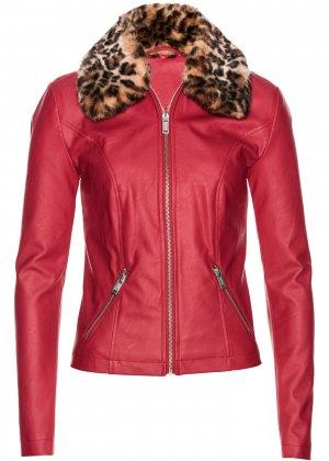 Куртка из искусственной кожи bonprix. Цвет: красный