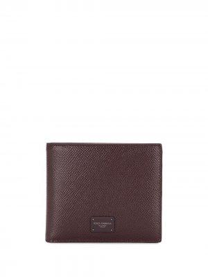 Фактурный кошелек с логотипом Dolce & Gabbana. Цвет: красный