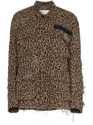 Жакет Abu с леопардовым принтом R13. Цвет: коричневый
