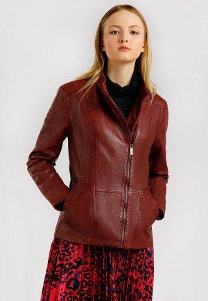 Куртка кожаная Finn Flare. Цвет: бордовый