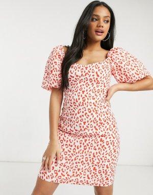 Платье мини с леопардовым принтом -Красный Glamorous