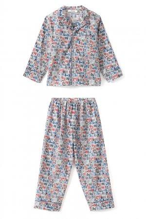 Хлопковая пижама с принтом Bonpoint. Цвет: multicolor