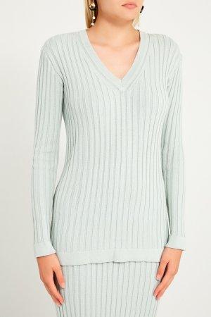 Пуловер с ребристой отделкой LAROOM. Цвет: голубой