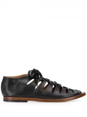 Сандалии-гладиаторы на шнуровке Alberto Fasciani. Цвет: черный