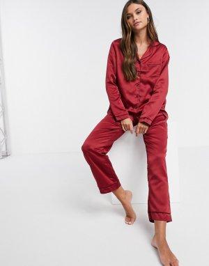 Бордовые атласные пижамные брюки -Красный Loungeable