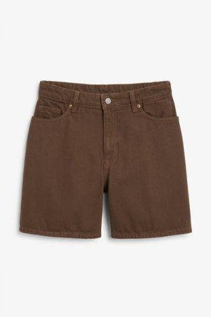 Джинсовые шорты с высокой посадкой Monki. Цвет: коричневый