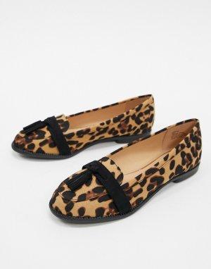 Лоферы с леопардовым принтом -Мульти Lipsy