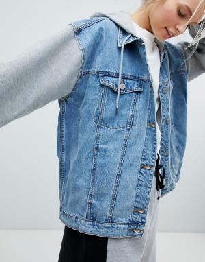 Джинсовая куртка 2 в 1 Monki. Цвет: мульти