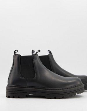 Черные ботинки челси -Черный цвет Bershka