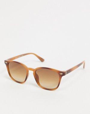Солнцезащитные очки в черепаховой квадратной оправе -Коричневый River Island