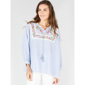 Блузка в полоску с вышивкой и рукавами 3/4 DERHY. Цвет: в полоску синий/белый