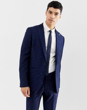 Жаккардовый приталенный пиджак с цветочным рисунком Farah Hookstone-Темно-синий Smart