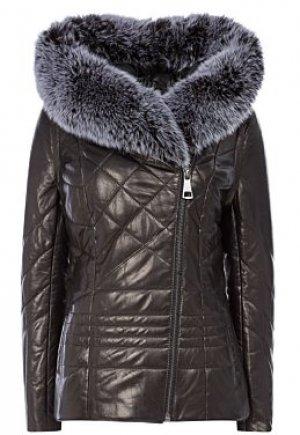 Утепленная кожаная куртка с отделкой мехом песца La Reine Blanche
