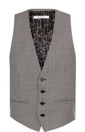Шерстяной жилет на пуговицах с узором houndstooth Givenchy. Цвет: черно-белый