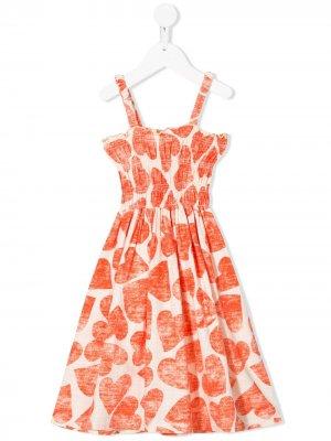 Расклешенное платье с принтом Bobo Choses. Цвет: оранжевый