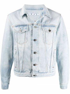 Джинсовая куртка с принтом Arrows Off-White. Цвет: синий