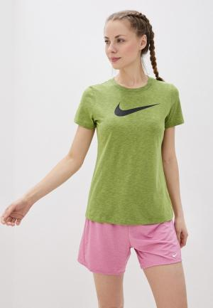 Футболка спортивная Nike W NK DRY TEE DFC CREW. Цвет: зеленый