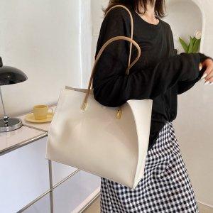 Минималистичная большая сумка-тоут SHEIN. Цвет: бежевые