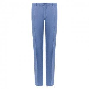 Льняные брюки Corneliani. Цвет: синий