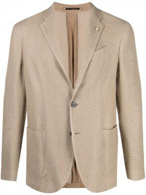 Однобортный пиджак Lardini. Цвет: нейтральные цвета