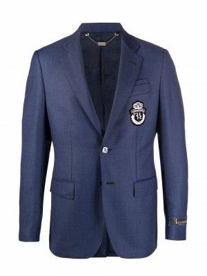 Пиджак Super Slim с вышивкой Billionaire. Цвет: синий