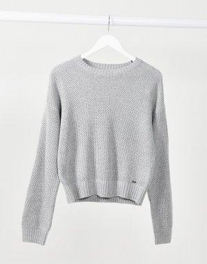 Серый трикотажный свитер с узором «соты» Hollister