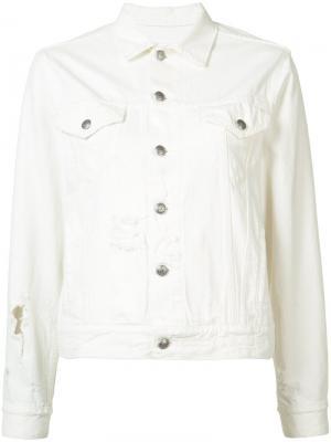 Укороченная джинсовая куртка R13. Цвет: белый