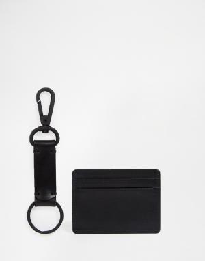 Подарочный набор с кожаной визитницей и брелком ASOS. Цвет: черный