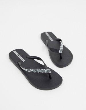 Черные гламурные шлепанцы с серебристой отделкой -Черный цвет Ipanema