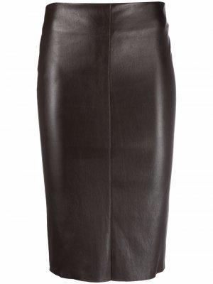 Кожаная юбка-карандаш с завышенной талией Drome. Цвет: коричневый