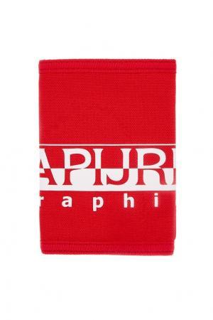 Красный кошелек с принтом Napapijri. Цвет: красный
