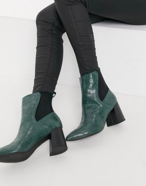 Зеленые ботинки челси с заостренным носком эффектом крокодиловой кожи -Зеленый цвет London Rebel