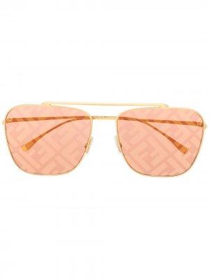 Солнцезащитные очки-авиаторы с логотипом FF Fendi Eyewear. Цвет: золотистый