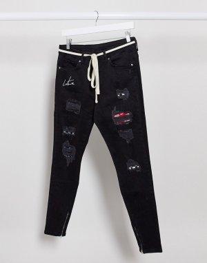 Черные джинсы с заплатками -Черный The Couture Club