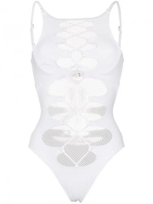 Hatty mesh lace-up swimsuit Agent Provocateur. Цвет: белый