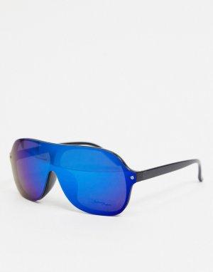 Круглые солнцезащитные очки с черной оправой и синими линзами -Черный Jeepers Peepers