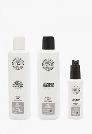 Набор для ухода за волосами Nioxin система 1, шампунь 150 мл, кондиционер маска 50 мл. Цвет: прозрачный