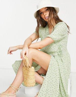 Зеленое платье миди с запахом и цветочным принтом из переработанного материала Yoana-Голубой Monki