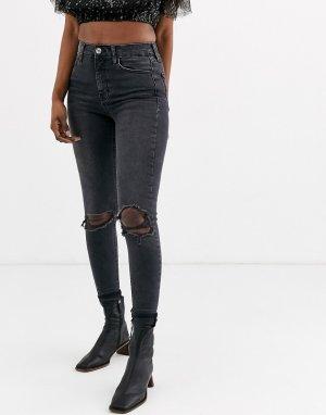 Черные джинсы скинни с рваными коленями -Черный Topshop