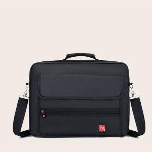 Мужской минималистичный портфель с клапаном SHEIN. Цвет: чёрный