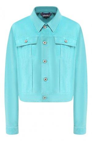 Кожаная куртка Ralph Lauren. Цвет: бирюзовый