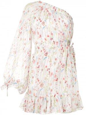 Платье Edyta на одно плечо с цветочным принтом Alexis. Цвет: белый