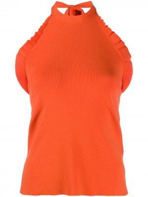 Топ с вырезом халтер и оборками See by Chloé. Цвет: оранжевый